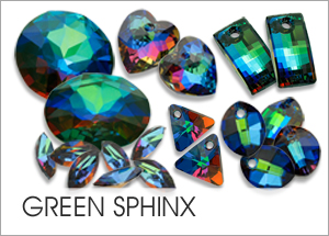 Green-Sphinx EHA Custom Coating on Swarovski crystals