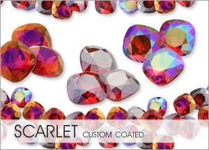Custom Coatings on Swarovski crystal Scarlet