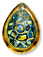 13254 Geode Pearshape Engraved Glass Pendant Sahara