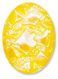 13253 Oval Geode Glass Cabochon Ultra Citrine AB