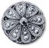 13257 Round Glass Engraved Stone Jet Hematite