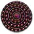 13265 Round Glass Engraved Stone Jet Mahogany