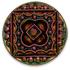 13266 Round Glass Engraved Stone Jet Mahogany