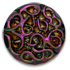 13267 Round Glass Engraved Stone Jet Mahogany