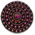 13265 Round Glass Engraved Stone Antique Button-Top Jet Mahogany