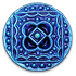 13266 Round Glass Engraved Stone Antique Button-Top Jet Glacier Blue