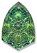 13269 Kaleidoscope Shield Engraved Glass Pendant Crystal Electra