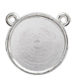 RD225B Round Flatback Setting 2-Ring Top Imt.Rhodium 22.5mm