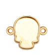 2856R Skull Flatback Setting 2-Ring Sides Gold Plated 14x10.5mm